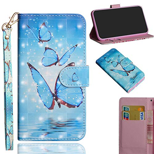 JARNING Kompatibel mit ZTE Z986 Hülle Leder Schutzhülle 3D Painting Wallet Tasche Flip Case mit Magnetverschluss Kartenfach für ZTE Z986 (DREI Schmetterling)