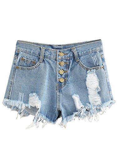 MAKEMECHIC Women's Frayed Raw Hem Ripped Distressed Denim Shorts