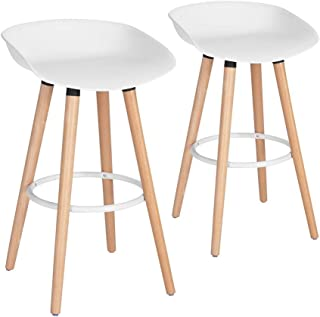 FurnitureR Bar Chair Pub Bar Height Barstool Modern Industrial Dining Bar Stool Chairs with PP Seat Backrest and Wooden Leg Set of 2 for Coffee Shop, Bar, Home Balcony-White
