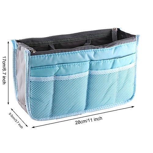yihengya Yihya Donne Travel Organizer Bag Viaggiare Organizzatore Sacchetto Borsa Pouch con Doppia Zip Fodera Inserire Tasche Multiple Tidy Cosmetici Pouch Borsa - (Blu)