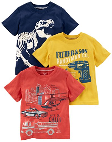 Carter's Boys' Toddler 3-Pack Short-Sleeve Graphic Tee, Dino/Construction/Rescue, 4T