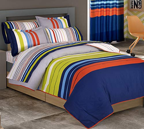 Primor Casa Modern Blue, Grey, Green & Orange Stripes Boys Teen 3 Piece Reversible Comforter Set - Cotton Rich Bedding Set (Full Size)