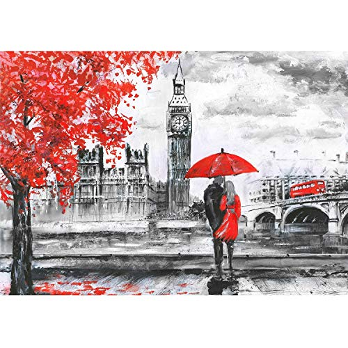 Jigsaw Puzzle 1000 Piece Treeside Red Umbrella Couple Adult Puzzle DIY Kit Wooden Puzzle Modern Home Decor Unique Gift