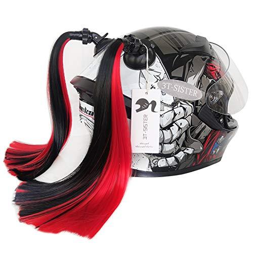 3T-SISTER Casco, coletas de cerdos, rampa degradada, casco de cola de caballo, con ventosa, decoración para el pelo para motocicleta y bicicleta, 2 unidades de 35,5 cm (negro rojo)