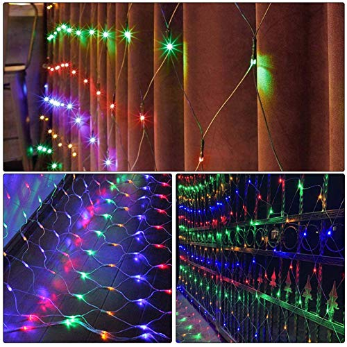 9.8ft x 6.6ft 200LED net Lights, Outdoor Christmas Decorative mesh Lights with 8 Working Modes for Holiday, Party, Wedding, Garden, Christmas Decorations (Multicolor)