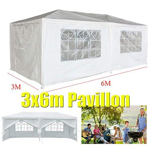Huini 3x6m Pavillon Festzelt Partyzelt Einfache Installation Family Garden BBQ Hochzeit Pavillon mit 6 Seitenwände - Weiß