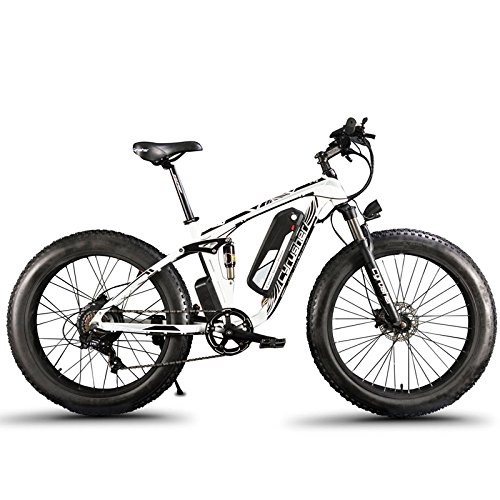Extrbici XF800 1000w 48v 13ah Electric Mountain Bike Full Suspension (White)