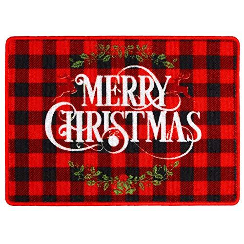 URATOT Merry Christmas Door Mats Non-Skid Christmas Buffalo Plaid Rugs Xmas Holiday Welcome Floor Mats Indoor Outdoor Welcome Doormat, 20 x 28 inches