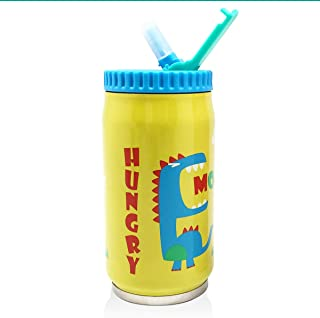 Vanli's Insulated Kids Thermos Water Bottle With Straw and Flip Lid | Cute, Colorful Cartoon Design | Kids Ages 3+ 9 oz and Leak Proof| Double Wall to Keep Cold or Hot Drinks for Hours