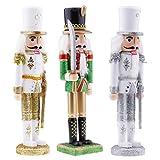 Baoblaze 3pcs 30cm Cascanueces de Navidad Figuras de Soldado de Madera Muñeco de Marioneta Juquetes ...