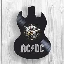 AC DC, Vinyl Clock, Wall Decor, Guitar, Drums, Bon Scott, Rock Music, Highway to Hell, Gift Ideas For Fans, Band, Back in Black, Wall Art, Home Decor, Vintage Vinyl Record, Handmade Gift, Modern Art