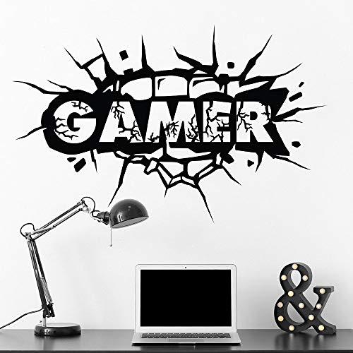 Creative Game Zone Gamer Logo Pared rota Puño Golpe Grieta Etiqueta de la pared Vinilo Art Decal Niño Dormitorio Sala de estar Sala de juegos Club Studio Decoración para el hogar Mural