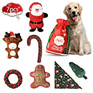 BELLABAILEY Holiday Squeaky Toys, Christmas Dog Toys 6 Pack, Rope Toys and Squeaky Toys Set, Plush Toy Santa, Reindeer, Gingerbread Man, Toys for Medium Sized Dog