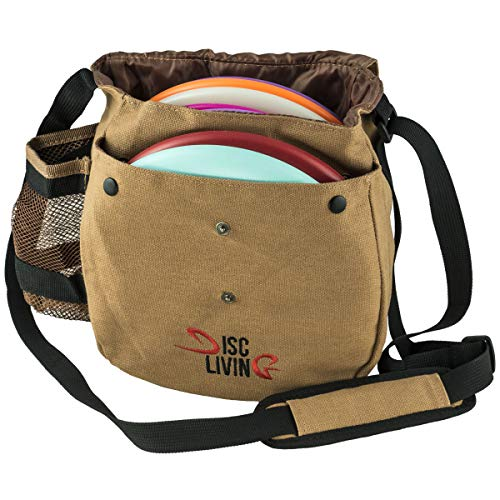 Disc Living Disc Golf Bag | Frisbee Golf Bag | Lightweight Fits Up to 10 Discs | Belt Loop | Adjustable Shoulder Strap Padding | Double Front Button Design | Bottle Holder | Durable Canvas (Brown)