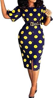 VERWIN Short Sleeve Mid-Calf Round Neck Print Women's Bodycon Dress Polka Dots Dress