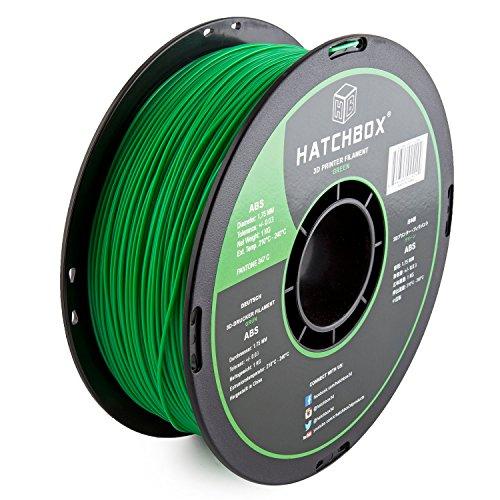 HATCHBOX ABS 3D Printer Filament, Dimensional Accuracy +/- 0.3 mm, 1 kg Spool, 1.75 mm, Green