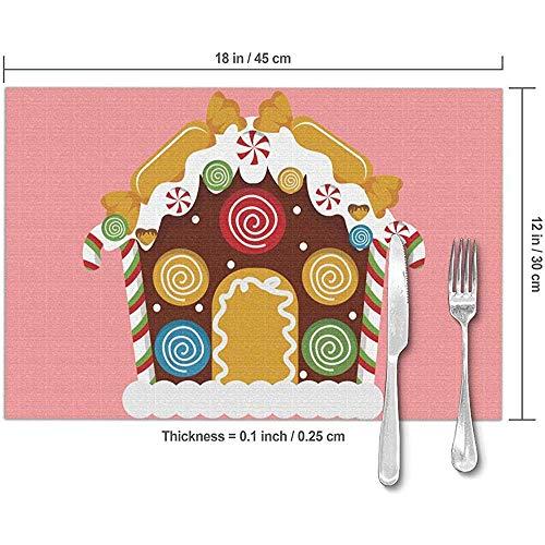 fishappleeatall Karikatur-Bunte Süßigkeits-Haus-Tabellen-Tischsets Verschleißfeste rutschfeste süße Speisetisch-Matten