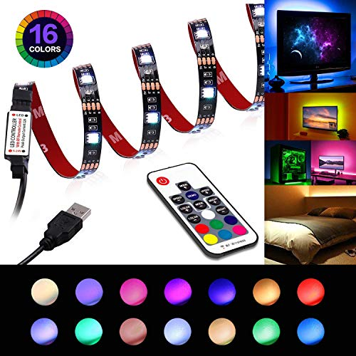 LED Strip Lights - USB Led TV Light Strip with Remote - TV Backlight 6.56ft for 40-60in TV - 22 Modes RGB 5050 LEDs Bias Lighting for HDTV, Computer, Home Decorative Backlight