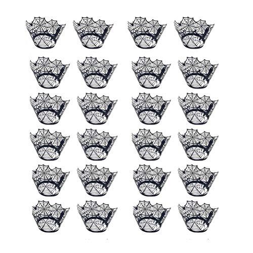 BESTOYARD 24 stuks Ahuecan muffinvormpjes Halloween Spider Web Shape Liner Bakken Cake Papier Cup Wraps (zwart)