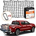 5' x 7' Bungee Cargo Net Stretches to 10' x 14' for Truck Bed, Pickup Bed, Trailer, Trunk, SUV with 16 Bonus D Clip Carabiners Universal Heavy Duty Car Rear Organizer Net
