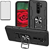 Luosunstar for Xiaomi Redmi Note 8 Pro Case (Not for Redmi Note 8) & Tempered Glass Screen Protector,Metal Ring Bottle Opener Kickstand Rugged Heavy Duty Anti-Scratch Dual Layer Shockproof Case,Black