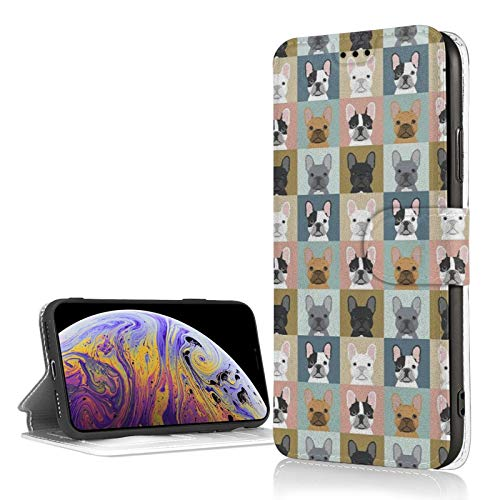 French Bulldog Frenchie Dog iPhone Xr Wallet Case with Credit Card Holder Leather Kickstand Card Slot Durable Shockproof Cover for iPhone Xr 6.1 Inch