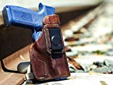 OutBags USA LS1FNSL (Brown-Right) Full Grain Heavy Leather IWB Conceal Carry Gun Holster for FNH FNS-9 Long Slide & FNS-40 Long Slide. Handcrafted in USA.