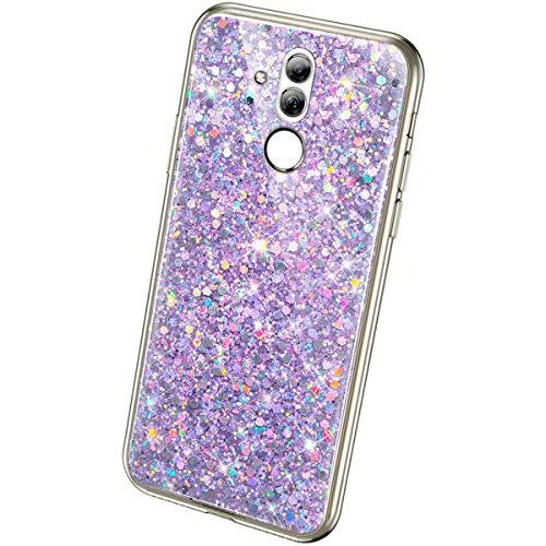 QPOLLY Schutzhülle für Huawei Mate 20 Lite, glitzernd, weich, Silikon, glänzend Bling Violet