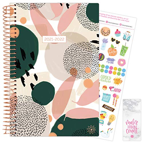 """bloom daily planners 2021-2022 Academic Year Day Planner & Calendar (July 2021 - July 2022) - 6"""" x 8.25"""" - Weekly/Monthly Agenda Organizer with Stickers and Bookmark - Green Modern Abstract"""