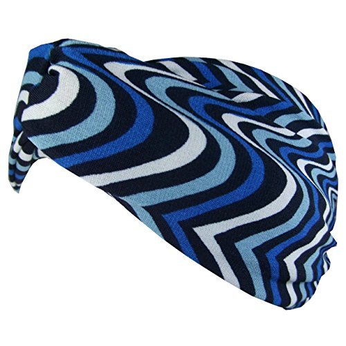 gah-gah Fascia per capelli donna floreale retro incrociato, stile vintage Blue Stripe