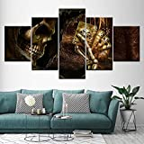 SDFGHY Canvas Wall Art 5 Pieces Grim Reaper Skull Posters Painting Decor Artwork Wallpaper Mural Pictures for Living Room Office Home Decoration Gift Framed(60inx32in)
