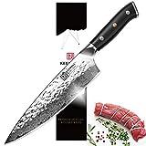 KEEMAKE Convex Damascus Chef Knife-8'' Wide Blade Kitchen Knife-Japanese Damascus AUS10-Hammered Finish-Ergonomic G10
