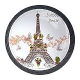 COOSUN Torre Eiffel con pomo de cajón de flores y alacenas con forma de círculo de cristal para armario, cajón, pomos de armario con tornillos para el hogar, oficina, armario (4 piezas)