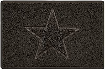 Star Embossed Shape Door Mat Dirt-Trapper Jet-Washable Doormat-(Use Indoor or Sheltered Outdoor)- (60x40cm/23.6x15.7inches, Small) Brown