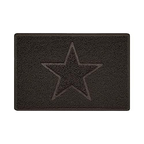 Nicoman Estrella - Felpudo Logotipo en Relieve Rizos de Vinilo Entrada Bienvenido Lavable Alfombra - (Usar en Interiores y Exteriores), Pequeño (60x40cm), Marrón