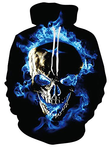 Fire Skull Hoodies for Women Mens 3D Funny Print Long Sleeve Sweatshirt Forest Pullover for Autumn and Winter Outfits with Pocket for Running,Trip,Camping