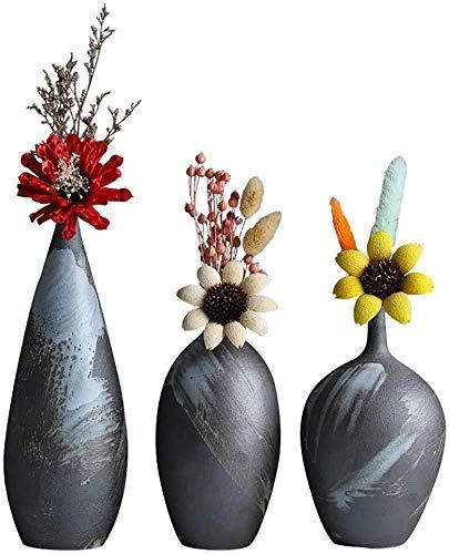 Vaas keramische set creatieve kunst decoratieve handgemaakte grijze driedelige plant bloemensieraad namaakbloemen gedroogde bloemen 9 * 1 * 10,5 cm woonaccessoires decoratie