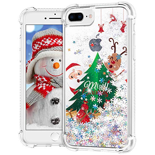 Ruky Christmas Case for iPhone 6 Plus 6s Plus 7 Plus 8 Plus, Glitter Liquid Flowing Bling Merry Christmas Pattern Design Soft TPU Fashion Cute Women Girls Children Case, Christmas Tree