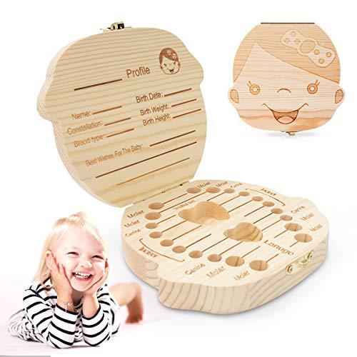 Zahnbox Holz Milchzähne Box, Ledeak Milchzahndose Zahndöschen für Kinder baby, Zähne box Souvenir Aufbewahrungsbox, 100% handgefertigt mit Holz(Maedchen)
