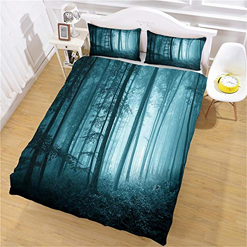 Super King Size Duvet Cover Sets Soft Comfortable Lightweight Breathable Bedding Set Horror forest for Kids Boys Girl Microfibre Three Piece 2 Pillowcases with Zipper Closure(260X220cm)