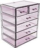 Sorbus - Estuche de almacenamiento estilo vitrina para maquillaje y joyas, elegante, estuche de baño, Púrpura, 4 Large, 2 Small Drawers