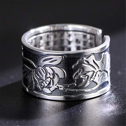 QAZXCV S999 Sterling Silver Jewelry Ring Buddhist Lotus Heart Silver Silver Ring para Hombres y Mujeres