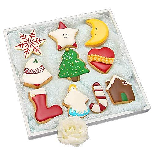Christmas Cookie Cutter Set de 10 Formes - Maison en Pain d'épice, Arbre, Flocon de Neige, Bas, Jingel Bell, Ange, Coeur, Lune, étoile | Acier Inoxydable, Emballage Cadeau en Forme de Sapin de Noël