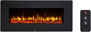 SUNCOO 42 Inches Electric Fireplace, Wall Mounted Fireplaces Log Set & Crystal, 3 Flame Settings, Realistic Flames, Electric Heater with Remote Control, 1400W, Black