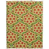 輸入生地 FreeSpirit Fabrics フリースピリット グリーン地 オレンジの花と蝶 カーネーション USAコットン 巾約110cm×50cmカットクロス PWJS-117-AUTUMN-50