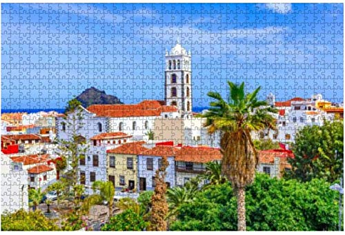 Rompecabezas Garachico Tenerife Islas Canarias España Ciudad colorida y hermosa para niños adultos Juego educativo Rompecabezas Juguetes DIY, 500 piezas 52 * 38 cm