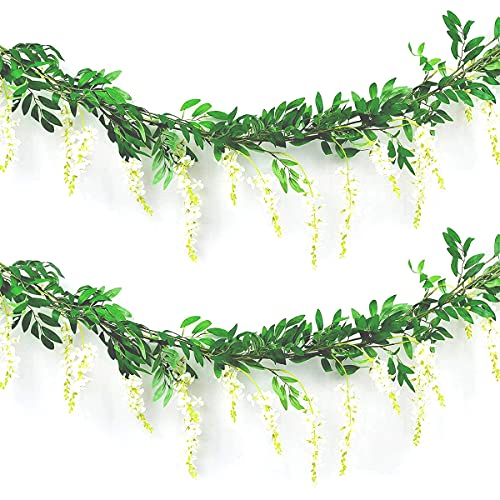 WARMIE 4 PCS Flower Garland Wisteria Artificial Flowers Fake Wisteria Vine Silk Fake Wisteria Vine Ivy Plants for Wedding Party Home Wall Decoration Trailing Flower In/Outdoor (White)