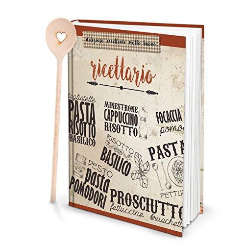 XXL Hardcover Italiaans kookboek om zelf te schrijven, RICETTARIO + KOOFFEL hart met 164 lege witte blanco pagina receptenboek als geschenk om zelf te schrijven met register