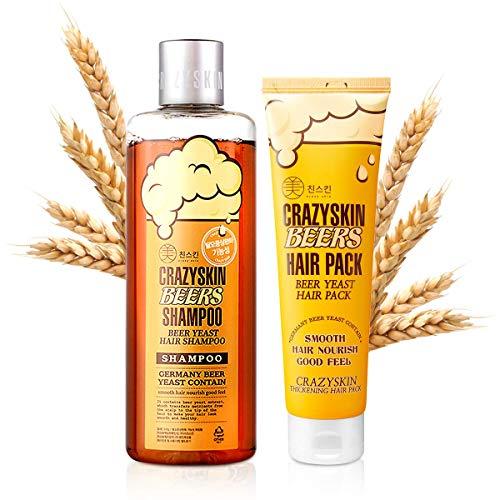 [Crazy Skin] Beer Shampoo & Hair Pack SET - pH 5.5 German Beer Yeast Hair Care Set, Rich in Biotin, Anti Hair Loss