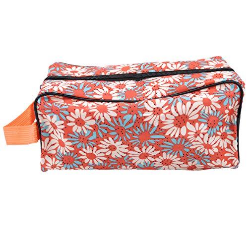 EJY Portable Femmes Floral Maquillage Sac Voyage Zipper Cosmetic Wash Organizer Sac(Orange)